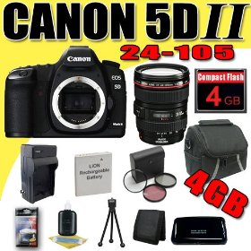 Canon EOS 5D Mark II 21.1MP Digital SLR Camera w/ EF 24-105mm f/4 L IS USM Lens DavisMAX LPE6 Battery/Charger Filter Kit 4GB Bundle
