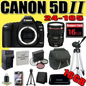 Canon EOS 5D Mark II 21.1MP Digital SLR Camera w/ EF 24-105mm f/4 L IS USM Lens DavisMAX LPE6 Battery/Charger Filter Kit Tripod 16GB Bundle