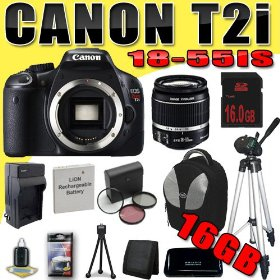 Canon EOS Rebel T2i 18 MP CMOS APS-C Digital SLR Camera w/ EF-S 18-55mm f/3.5-5.6 IS Lens DavisMAX LPE8 Battery/Charger Filter Kit Tripod 16GB Backpack Bundle