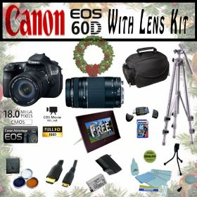 Canon EOS 60D 18.0 MP Digital SLR Full HD Camera Extreme Starter Holiday Kit with EF-S 18-135mm f/3.5-5.6 IS, EF 75-300mm f/4-5.6 III, Opteka 7