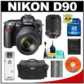 Nikon D90 Digital SLR Camera with 18-105mm AF-S DX VR + Nikon 55-200mm AF-S DX VR Zoom-Nikkor Lens + 16GB Card + EN-EL3e Battery + Case + Cameta Bonus Accessory Kit