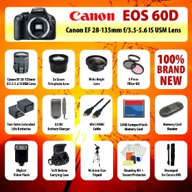 Canon EOS 60D Body SLR Digital Camera + Canon EF 28-135mm f/3.5-5.6 IS USM Standard Zoom Lens + 2x telephoto Lens + Wide Angle Lens + Filter Kit + 2 Extended Life Batteries + Charger + 32 GB CompactFlash Card + Flash + Case + Tripod + MORE!