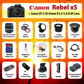 Canon EOS Rebel xS (1000D) Digital SLR + 18-55mm Lens + 3.5x Telephoto Lens + 0.40 Fish-Eye Lens + Filter Kit + 8GB SD + Card Reader + 2 Extra Batteries + Case + Mini HDMI Cable + Tripod + Monopod + Starter Kit + MORE!