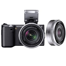 Sony NEX5KB DSLR NEX5KBK1 NEX-5K 14.2MP Digital Camera; 18-55 & 16mm F2.8 Lenses Black