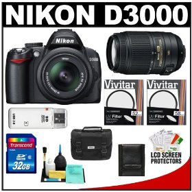 Nikon D3000 Digital SLR Camera & 18-55mm G VR DX AF-S & 55-300mm VR Zoom Lens + 32GB Card + Filters + Case + Accessory Kit