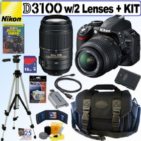 Nikon D3100 14.2MP Digital SLR Camera with 18-55mm f/3.5-5.6G AF-S DX VR and 55-300mm f/4.5-5.6G ED VR AF-S DX NIKKOR Zoom Lens + 16GB Deluxe Accessory Kit