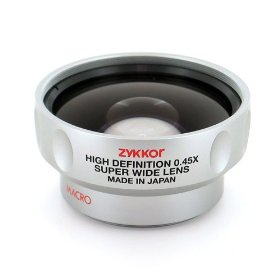 Zykkor 0.45x HD Platinum Pro Super Wide Angle 52mm/58mm Lens with Macro - Silver - Made in Japan