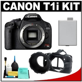 Canon EOS Rebel T1i 15.1MP Digital SLR Camera (Black) with LP-E5 + Camera Armor + Cleaning Kit