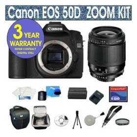 Canon EOS 50D 15.1 MP Digital SLR Camera with Tamron 28-80mm Zoom Lens + UV Filter + 4 GIG Memory Card + Holster Case + 6 Piece Starter Kit + 3 Year Celltime Warranty Repair Package