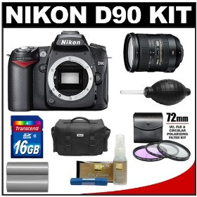 Nikon D90 Digital SLR Camera Body & 18-200mm VR II Lens with 16GB Card + Battery + 3 Piece Filter Kit + Case + Accessory Kit