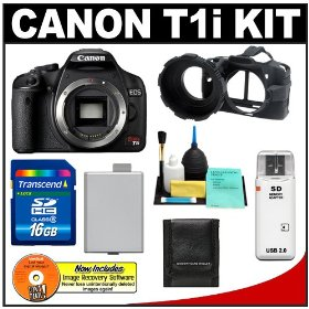 Canon EOS Rebel T1i 15.1MP Digital SLR Camera (Black) with 16GB SD Card + LP-E5 + Camera Armor + Accessory Kit