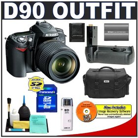 Nikon D90 Digital SLR Camera with 18-105mm AF-S DX VR Nikkor Lens [Outfit] + Nikon MB-D80 Grip + 8GB Cameta Bonus Accessory Kit