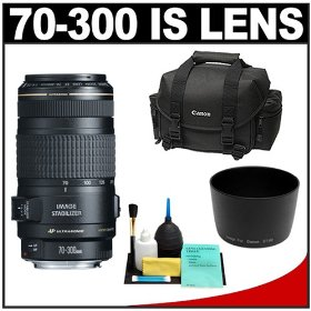 Canon EF 70-300mm f/4-5.6 IS USM AF Lens + Canon 2400 DSLR Gadget Bag Case + Accessory Kit for Digital Rebel XT, XTi, XS, XSi, T1i, T2i, EOS 30D, 40D, 5D, 7D, 50D & 60D Digital SLR Cameras