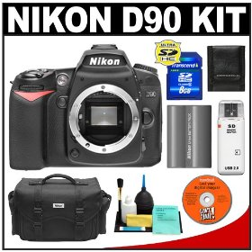 Nikon D90 Digital SLR Camera Body + 8GB Card + Nikon EN-EL3e Battery + Case + Cameta Bonus Accessory Kit