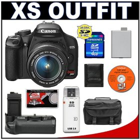 Canon Digital Rebel XS 10.1MP Digital SLR Camera (Black) + Canon EF-S 18-55mm IS Lens + Canon BG-E5 Battery Grip + Spare LP-E5 Battery + 4GB Card + Gadget Bag