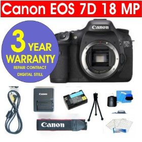 Canon EOS 7D 18 MP Digital SLR Camera Body + 6 Piece Digital Camera Accessory Kit + 3 Year Extended Warranty Repair Contract
