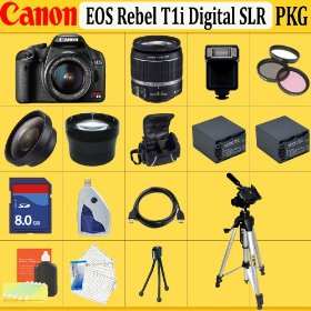 Canon EOS Rebel T1i SLR Digital Camera Kit with 18-55mm Is Lens + Huge Accessories Package Including Wide Angle Macro Lens + 2x Telephoto + 3 Pc Filter KIT + 8gb Sdhc Memory Card + 2x Extended Life Batteries + Carrying Case + Tripod & Much More !!