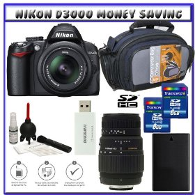 Nikon D3000 10MP Digital SLR Camera w/ 18-55mm f/3.5-5.6G AF-S DX VR Nikkor Zoom Lens w/ Sigma 70-300mm f/4-5.6 DG Macro Autofocus Lens for Nikon AF + Two (2) 8GB Card + EN-EL9a Battery + Case + Accessory Kit