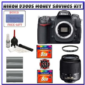 Nikon D300s Digital SLR Camera + 18-55mm f/3.5-5.6G ED II AF-S DX Zoom-Nikkor Autofocus Lens + Two (2) Transcend 8GB Card + Two (2) EN-EL3e Battery Packs + UV Filter + Starter Accessory Kit