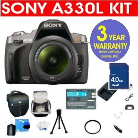 Sony A330L 10.2 MP Digital SLR Camera with 18-55mm f/3.5-5.6 Standard Zoom Lens + 4 GB Memory Card + 6 Piece Accessory Kit + Camera Holster Case + Multi-Coated Glass UV Filter + 3 Year Warranty Repair Contract