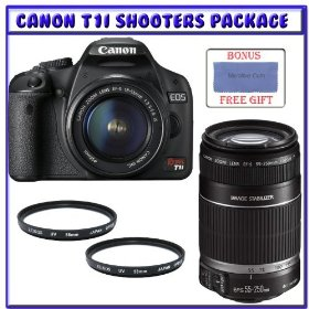 Canon EOS Rebel T1i Digital SLR Camera Kit w/EF-S 18-55mm f/3.5-5.6 IS Lens + Canon EF-S 55-250mm f/4-5.6 IS Autofocus Lens + Two (2) UV Protective Filters