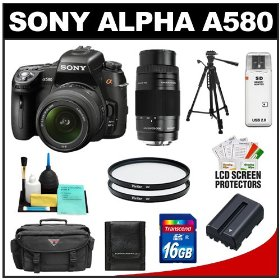Sony Alpha DSLR-A580 16.2 MP Digital SLR Camera & 18-55mm Lens with 75-300mm Lens + 16GB Card + Battery + Tripod + Case + UV Filters + Cleaning & Accessory Kit