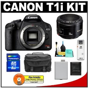 Canon EOS Rebel T1i Digital SLR Camera with EF 50mm f/1.8 II Lens + 8GB Card + Battery + Case + Accessory Kit