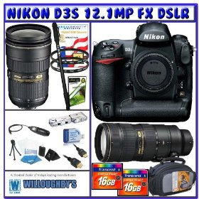 Nikon D3S Digital SLR (Camera Body) + Nikon 24-70mm Lens + Nikon 70-200mm VR II Lens + Three (3) 3-Year Extended Warranty + Power & Precision Bundle