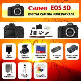 Canon EOS 5D Mark II Digital SLR Camera Body + 2 Extended Life Batteries + Battery Charger + 8 GB Memory Card + Card Reader + Tripod + Carrying Case + Starter Kit + Digital Flash and more!!