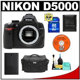 Nikon D5000 Digital SLR Camera Body with 8GB Memory Card + Spare EN-EL9 Battery + Case + Cameta Bonus Accessory Kit