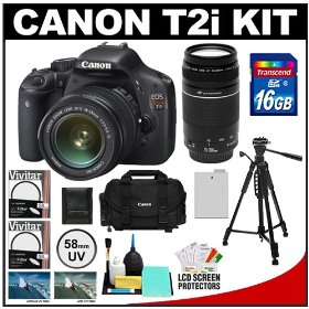 Canon EOS Rebel T2i Digital SLR Camera & 18-55mm IS Lens + EF 75-300mm III Zoom Lens + 16GB Card + Battery + Canon 2400 DSLR Gadget Bag Case + Tripod + Filters Kit