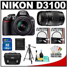 Nikon D3100 Digital SLR Camera & 18-55mm VR + Tamron 70-300mm Di Lens + 16GB Card + Filters + Case + Tripod + Accessory Kit