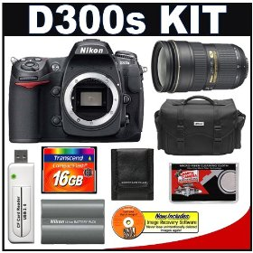 Nikon D300s Digital SLR Camera + 24-70mm f/2.8G AF-S Lens + 16GB Card + Nikon EN-EL3e Battery + Case + Cameta Bonus Accessory Kit