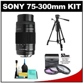 Sony Alpha 75-300mm f/4.5-5.6 Zoom Lens with Tripod + 3 UV/CPL/FLD Filter Set + Cleaning Kit for A33, A55, A560, A580, A230, A330, A380, A450, A500, A550, A850 & A900 Digital SLR Cameras