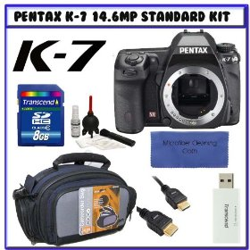 Pentax K-7 14.6 MP Digital SLR with Shake Reduction and 720p HD Video (Body Only) 17811 + Pentax 2-Year Extended Warranty for K7 D-SLR Cameras + Transcend 8GB SDHC + Willoughby's Travelers Package # 1
