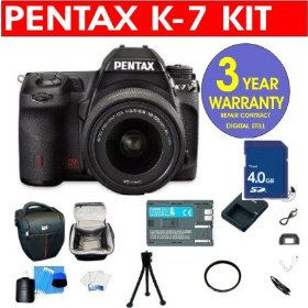 Pentax K-7 14.6 MP Digital SLR Camera with DA 18-55mm WR Lens + 4 GB Memory Card + 6 Piece Accessory Kit + Camera Holster Case + Multi-Coated Glass UV Filter + 3 Year Warranty Repair Contract