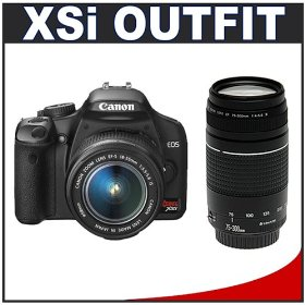 Canon Digital Rebel XSi 12.2MP Digital SLR Camera (Black) + Canon 18-55mm IS Lens + Canon 75-300mm III Lens