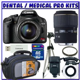 Canon EOS Rebel T1i 15.1 MP CMOS Digital SLR Camera w/ Canon EF-S 18-55mm f/3.5-5.6 IS Lens + Sigma Flash Macro Ring EM-140 DG for Canon SLR Cameras + Sigma 105mm f/2.8 EX DG Medium Telephoto Macro Lens + Dental/Medical Bundle