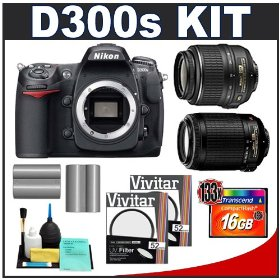 Nikon D300s Digital SLR Camera + 18-55mm + 55-200mm VR Zoom Lens + 16GB Card + (2x) EN-EL3e Battery Packs + (2x) UV Filters + Cameta Bonus Accessory Kit