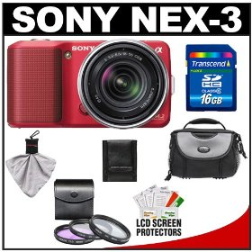 Sony Alpha NEX-3 Digital Camera Body & E 18-55mm OSS Compact Interchangeable Lens (Red) with 16GB Card + Battery + Case + Accessory Kit