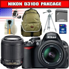Nikon D3100 14.2MP Digital SLR Camera with 18-55mm f/3.5-5.6G AF-S DX VR Nikkor Zoom Lens + AF-S DX VR Zoom-NIKKOR 55-200mm f/4-5.6G IF-ED Package 2