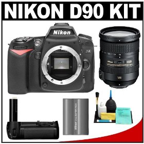 Nikon D90 Digital SLR Camera Body + Nikon 18-200mm VR II Lens + Nikon MB-D80 Battery Grip + Nikon EN-EL3e Battery + Cleaning Kit
