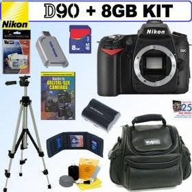 Nikon D90 DX 12.3MP Digital SLR Camera + 8GB Deluxe Accessory Kit