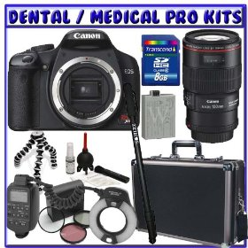 Canon EOS Rebel XS (a.k.a. 1000D) 10 Megapixel SLR Digital Camera Body + Canon EF 100mm f/2.8L IS USM 1-to-1 Macro Lens + Canon MR-14EX Macro Ring Lite + 8GB SDHC + Monopod + Willoughby's Dental / Medical Accessory Package