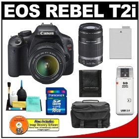 Canon EOS Rebel T2i Digital SLR Camera & 18-55mm IS Lens + EF-S 55-250mm IS Zoom Lens + 16GB Card + Battery + Case + Accessory Kit