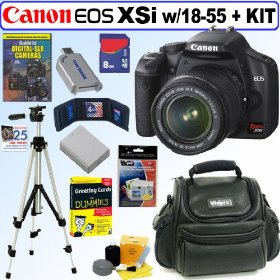Canon Digital Rebel XSi 12MP Digital SLR Camera with EF-S 18-55mm f/3.5-5.6 IS Lens (Black) + 8GB Deluxe Accessory Kit