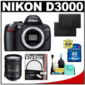 Nikon D3000 Digital SLR Camera Body (Outfit Box) with Nikon 18-200mm VR II DX Lens + 16GB Card + Two (2) EN-EL9a Batteries + UV Filter + Cleaning Kit