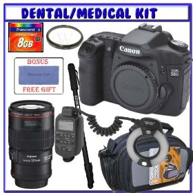 Canon EOS 50D 15.1MP Digital SLR Camera (Body Only) + Canon EF 100mm f/2.8L Macro IS USM Lens + 8GB Secure Digital Medical/Dental Accessory Kit