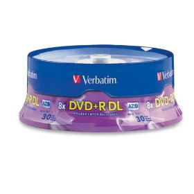 Verbatim 96542 8.5 GB 8x-10x Double Layer Recordable Disc DVD+R DL, 30 Disc Spindle
