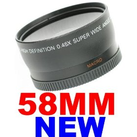 58mm 0.45x WIDE Angle LENS ~INCLUDING LENS BAG~ for Canon Rebel T1I XT XS XSi XTi + MORE! 58 MM